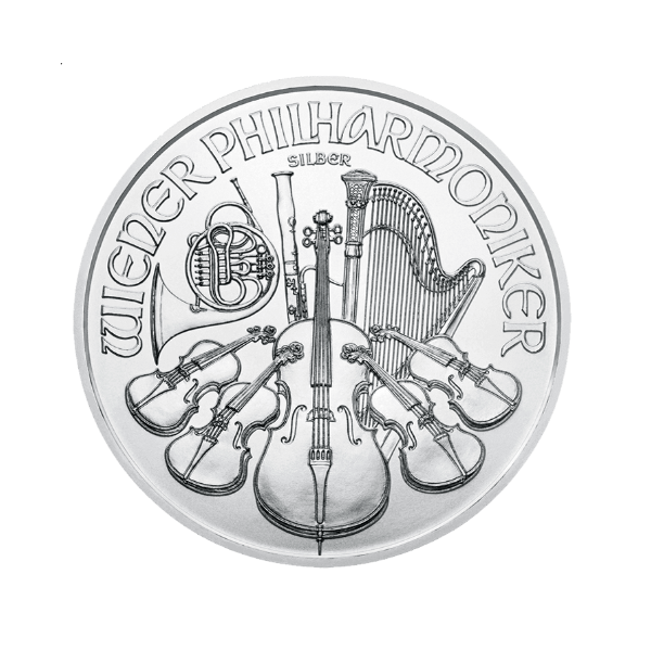 Cena srebra. Austriacka moneta Wiener Philharmoniker Ag.