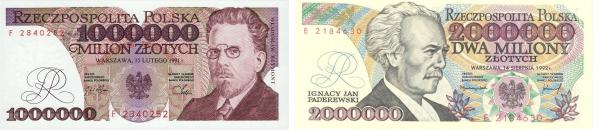 Banknoty Reymont Paderewski