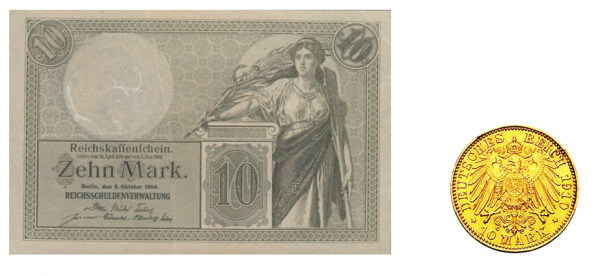 10 marek papierowych oraz złotych z początków XX wieku.