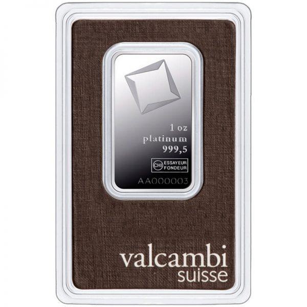 Sztabka platyny o wadze 1oz ze szwajcarskiej mennicy Valcambi