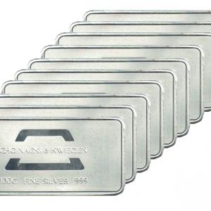 Sztabka srebra 100g Chojnacki & Kwiecień zestaw 10 sztuk